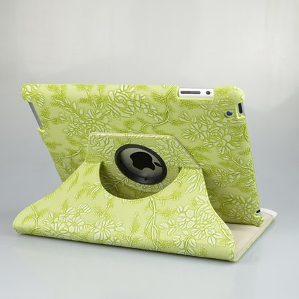 Ctech 360 Degrees Rotating Stand Stylish Embossed Flowers Case for iPad 3/2 with Stylus, Supports Smart Cover Wake/Sleep -Green