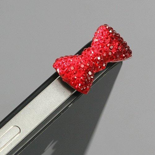 Red / Earphone jack accessory / Bow Dust Plug / Ear Cap / Ear Jack For iPhone / iPad / iPod Touch / 3.5mm (7232-4)
