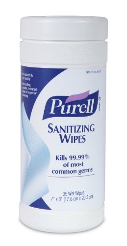 PURELL 9011-12 Sanitizing Wipes, 35-Count Canister (Pack of 12)