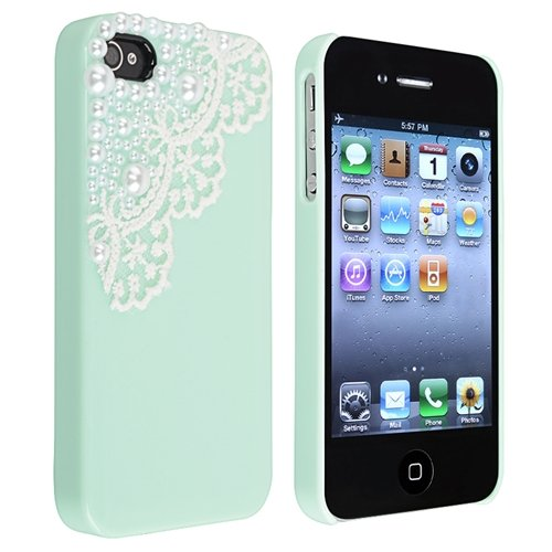 Hand Made Lace and Pearl Green Hard Case Cover for iPhone 4 4G 4S
