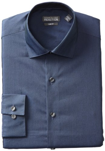 Kenneth Cole Reaction Men's Slim Fit Chambray Dress Shirt, Blue, 17.5 36-37