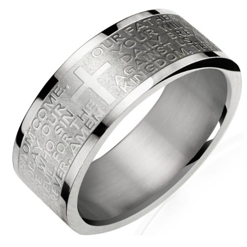 Stainless Steel English Lord's Prayer 8mm Band Ring - Men (Size 11)