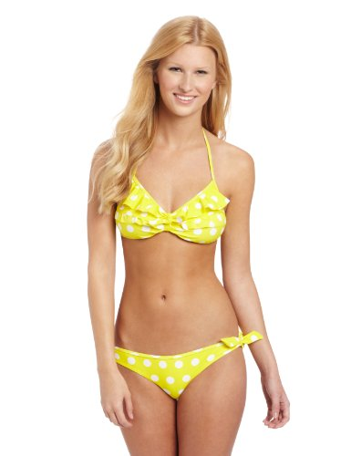 U.S. Polo Assn. Juniors Polka Dot Print Bikini, Lemon Rock, Small
