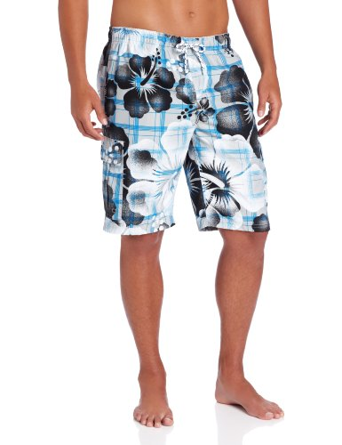 U.S. Polo Assn. Men's Airbrush Floral Plaid Short, White, Medium