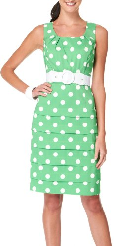 AGB Polka Dots Tiered Belted Dress GREEN/WHITE 16