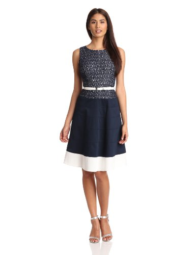 AK Anne Klein Women's Belted Lace Dress, Navy, 16