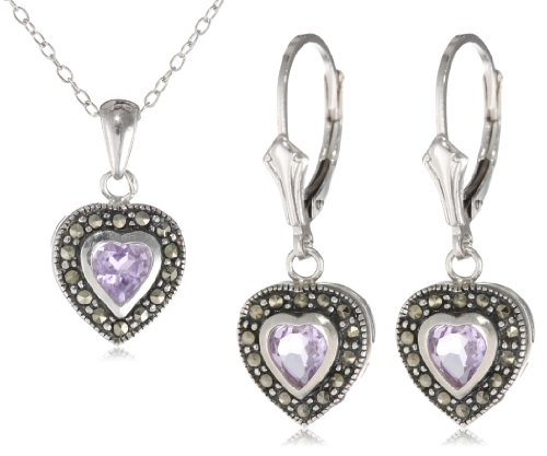 Sterling Silver Marcasite and Amethyst Heart Pendant, 18