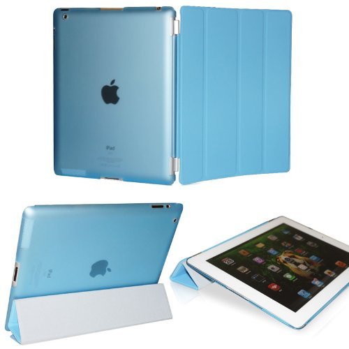KHOMO ® DUAL CASE Blue Cover FRONT + Blue Crystal Back Protector with Rubberized Texture for Apple iPad 2 , iPad 3 & iPad 4 (The new iPad HD)