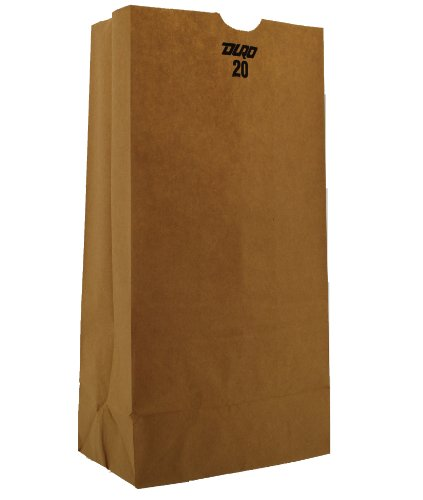 Duro 80977 Kraft Paper Flat-Bottom Grocery Bag, 20-lb Capacity, 8-1/4