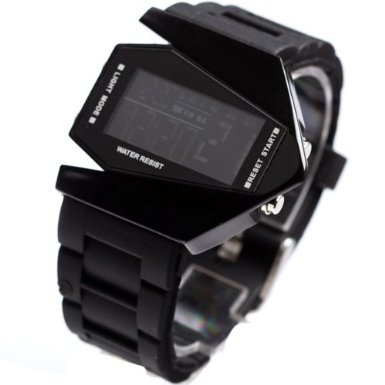 Elegant Plane Style Digital Display LED Silicone Wrist Watch Black