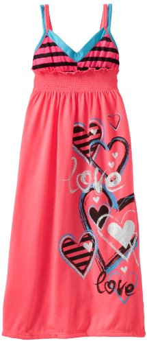 One Step Up Girls 2-6X Neon Maxi Dress, Knockout Pink, Small/4