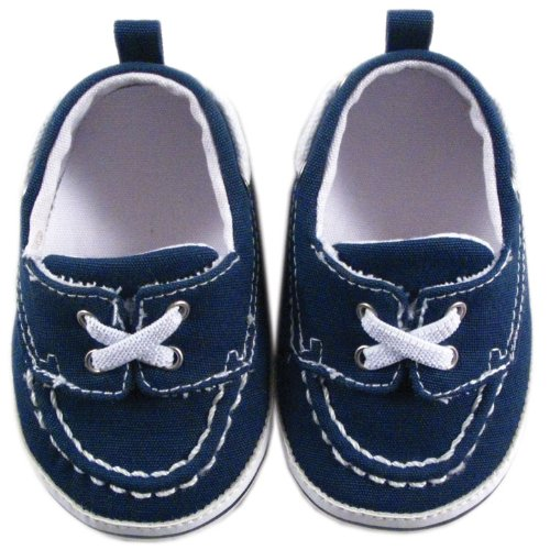 Luvable Friends Boy's Slip-on Shoe for Baby, Navy, 12-18 Months