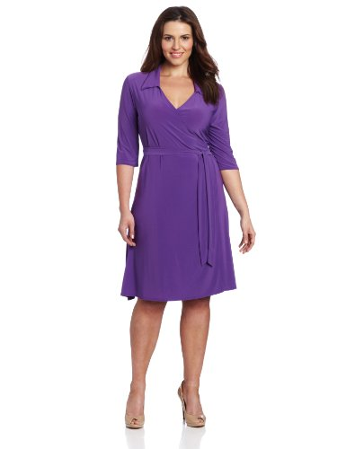 Star Vixen Women's Plus-Size 3/4 Sleeve Full Wrap Dress, Purple, 1X