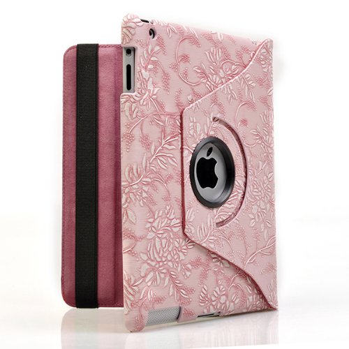 Ctech 360 Degrees Rotating Stand (Pink Flower) Luxury Leather Case for Apple iPad 2 with Smart Cover Wake/Sleep Function (Retail Packaging)