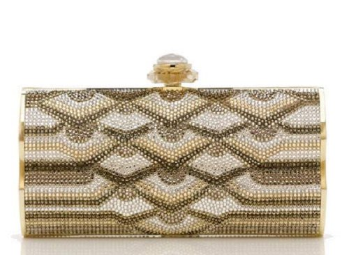 NEW Judith Leiber Austrian Crystal Swanee Pattern Minaudiere-Collectible RARE Retail 95