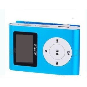 (BLUE) LCD MINI CLIP ON MP3 PLAYER.SUPPORTS 1GB,2GB,4GB,8GB SDHC MEMORY (BULK PACKAGE,MEMORRY CARD NOT INCLUDED)