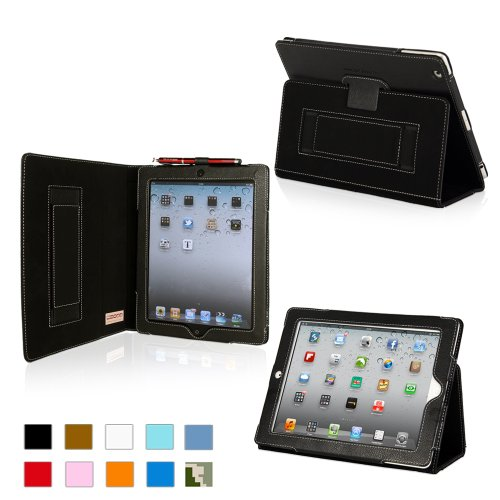Snugg iPad 2 Leather Case in Black - Flip Stand Cover with Elastic Hand Strap and Premium Nubuck Fibre Interior - Automatically Wakes and Puts the Apple iPad 2 to Sleep