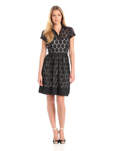 Julian Taylor Women's Eyelet Fit And Flare Dress, Black, 6 Missy