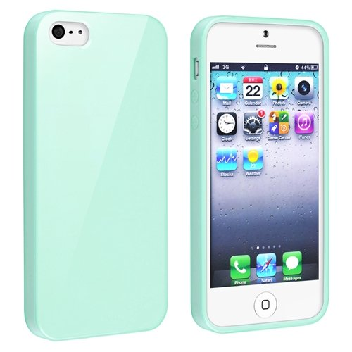 eForCity TPU Rubber Skin Case Compatible with Apple® iPhone® 5, Mint Green Jelly