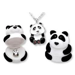 PANDA BEAR NECKLACE WITH SILVERTONE CHAIN