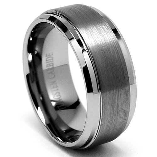 9MM High Polish / Matte Finish Men's Tungsten Ring Wedding Band Size 8
