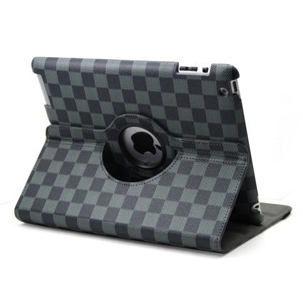 Ctech 360 Degrees Rotating Stand (Black/Gray) Stylish Grid Plaid Pattern Leather Case for iPad 2 with Smart Cover Wake/Sleep Capability