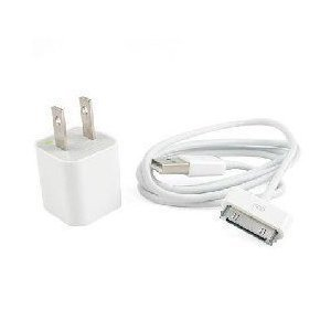 White Color Multifunctional USB Wall Charger + Data Sync & Power Charge Cable for iPhone 4 / iPhone 3G / iPod Touch / iPod Nano / iPod Shuffle