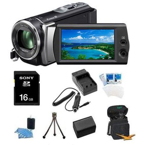 Sony HDR-CX190 HDR-CX190B HDR-CX190/B High Definition Handycam 5.3 MP Camcorder with 25x Optical Zoom + 16GB High Speed SDHC Card + High Capacity Battery + Rapid AC/DC Charger + Deluxe Case + Much More!