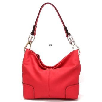 Noble Mount Simple Classic Everyday Hobo/Handbag - Red