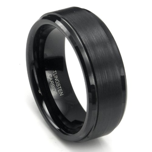 8MM Black High Polish / Matte Finish Men's Tungsten Ring Wedding Band Sz 7.0