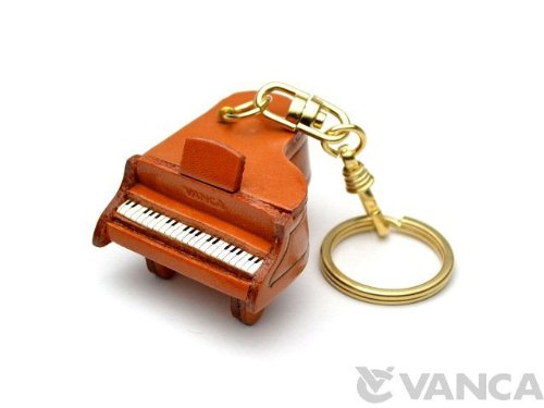 Piano Leather Music/Instrument KH Keychain VANCA CRAFT-Collectible keyring Made in Japan